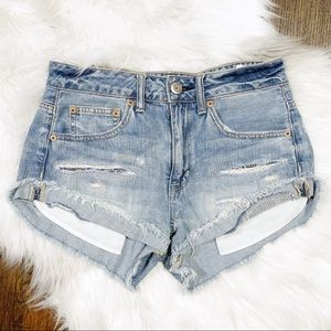 American Eagle Distressed Denim Shorts Size 4